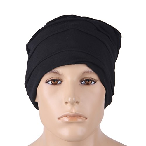 la gorrita 24 Negro Hombres holgado Slouchy COMVIP de punto tejida sueño de Rayas cráneo vnOqz