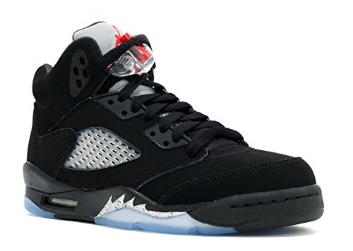 Jordan Air 5 Retro OG BG Big Kid's Shoes Black/Fire Red/Metallic Silver/White 845036-003 (4.5 M US) by Jordan
