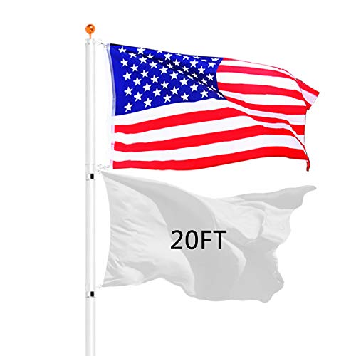 Moonlight 20ft Telescopic Aluminum Flagpole Kit 5 Sectional Fly Can 2 Flags with 3'x5' US Flag & Gold Ball Top Kit Great for Residential/Commercial