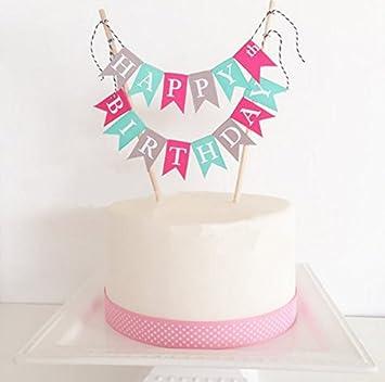 Losuya Happy Birthday Cake Topper Cake Bunting Banner Garland