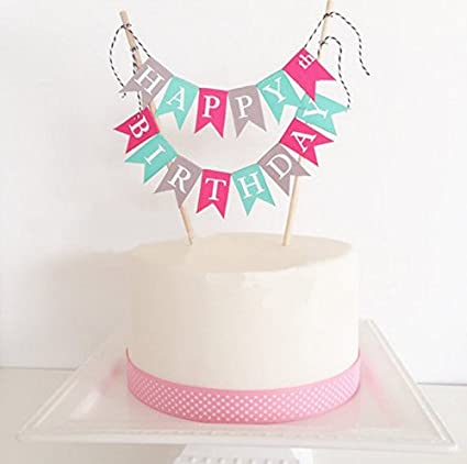 amazon com losuya happy birthday cake topper cake bunting banner