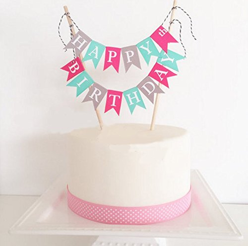 Losuya Happy Birthday Cake Topper Cake Bunting Banner Garland Pennant Flags Birthday Party Cake Decoration Favors, Multi-Color