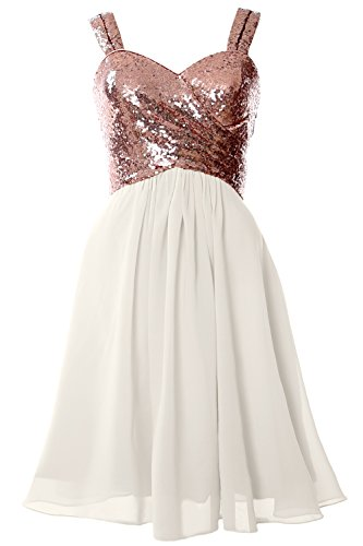 Gorgeous Short (MACloth Gorgeous Sequin Short Bridesmaid Dress Cowl Back Cocktail Formal Gown (8, Rose Gold-Ivory))