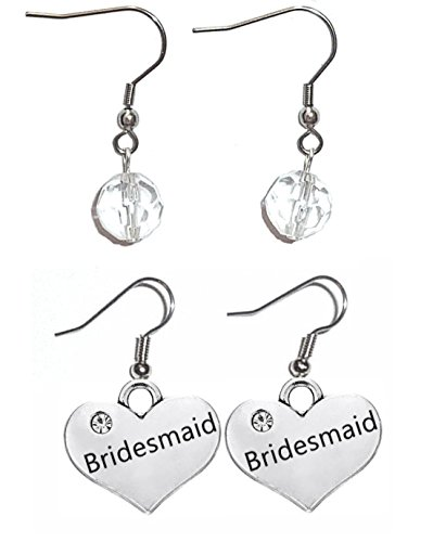 Charm Dangle Earrings, Surgical Stainless Steel French wire Women's beaded earrings in Gift Box. (Bridesmaid) -