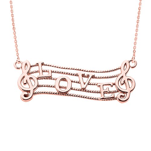 14k Rose Gold Treble Clef Charm Musical Note