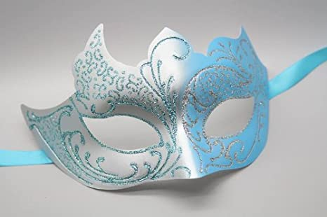 Metal Mask in Turquoise Masquerade Mask Blue and Purple
