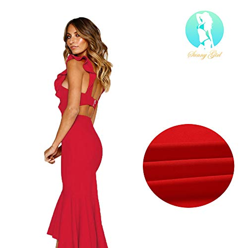 Evening Cocktail Prom Backless Sleeveless Dress Fishtail Midi Dress Fitted Slim Dress in Black and Red (L, Red)