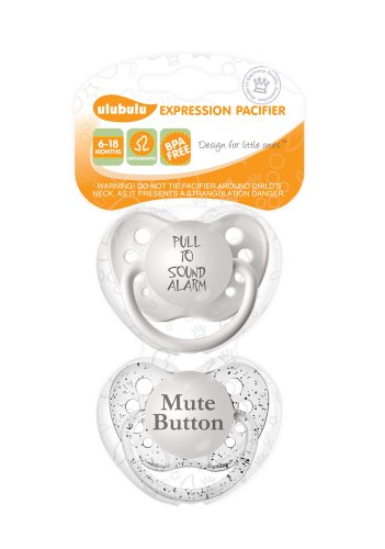 Ulubulu Expression Pacifier Set, Unisex, Pull to Sound Alarm and Mute Button, 6-18 Months