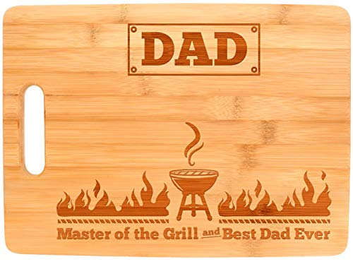 Laser Engraved Cutting Board Master of the Grill and Best Dad Ever Father's Day Gifts Birthday Gifts for Dad Personalized Cutting Board Gift Rectangle Bamboo Cutting ()