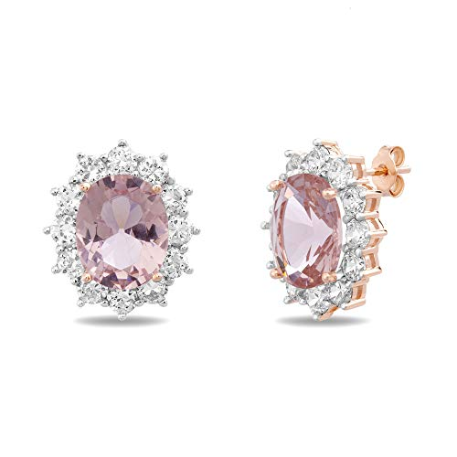 INSPIRED BY YOU. Rose Gold Plated Sterling Silver Oval and Cut Simulated Morganite and Cubic Zirconia Stud Bridal Halo Earring for - Expanded Oval Metal