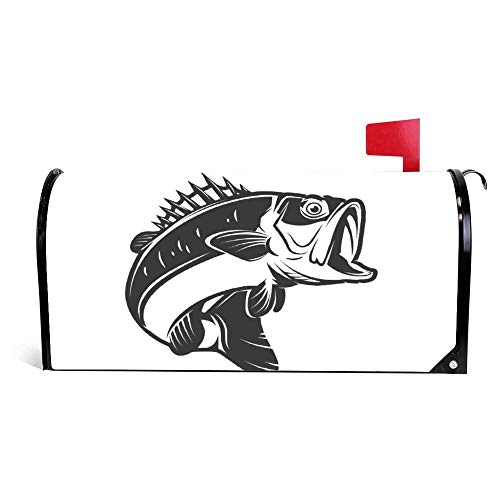 Bass Fish Magnetic Mailbox Cover Wraps Post Box Canvas Garden Yard Home Decor for Outside -20.5x18 inch