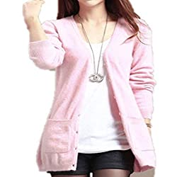 Molif Women Spring Autumn Long Cardigan Cashmere Material Loose Sweater Outerwear Coat With Pockets Pink Xl