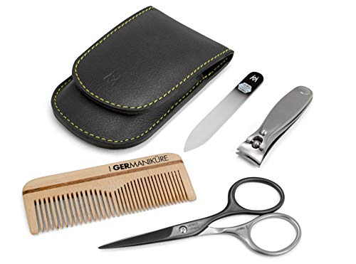 (4pcs Mens Manicure Set German FINOX22 Titanium Steel: Self Sharpening Scissors, Nail Clippers, Glass Nails File and Wood Comb Grooming Kit for Men in Magnetic Leather Case by GERmanikure Solingen)