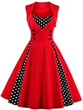 KILOLONE Women 50s Plus Size Christmas Party Retro Vintage Rockabilly Classic A-Line Pinup Cocktail Swing Dresses