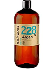 Naissance Moroccan Argan Oil 1 Litre - Pure and Natural, Cold-Pressed, Vegan, Hexane Free, No GMO - Natural Moisturiser and Conditioner for Face, Hair, Skin, Beard & Cuticles