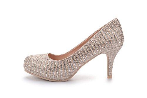 Mila Lady Paola06 Cinderella Prinses Sparkle Crystal Gem Strass Glitter Formele Pumps, Trouwschoenen Jurk Hakken Champag