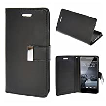 MOONCASE HTC One A9 Case, Flip Leather Wallet Case Cover for HTC One A9 Bookstyle Magnetic Folio Kickstand [Shock Absorbent] TPU Case Black