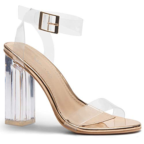 Herstyle Women's Cllaary Perpex Heel, Ankle Strap with and Adjustable Buckle Clear Rose Gold 10.0 ()