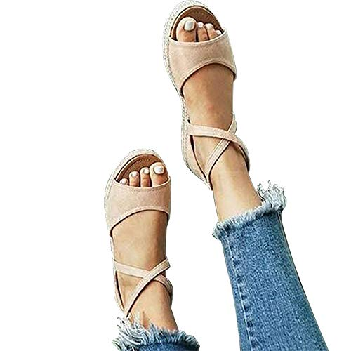 SNIDEL Women¡¯s Platform Sandals Peep Toe Flat Wedge Strappy Sandal Summer Casual Espadrille Shoes Beige 7.5 B (M) US