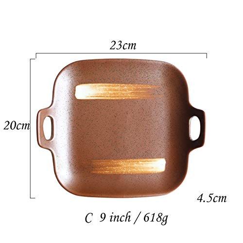 1Pc 9 Inch Dinner Plate Line Stripe Dinner Dishes With Double Handle Square Dinnerware Dishes,C