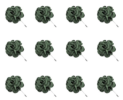 ZAKIA 12pcs Men's Flower Lapel Pin Brooch Handmade Boutonniere for Suit Wholesale Lot (Green) - Wholesale Fashion Brooches