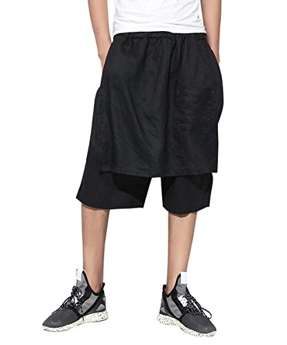 ELLAZHU Men Summer Casual Wide Leg Capri Pants GYM137, One (Wide Leg Linen Blend Pants)