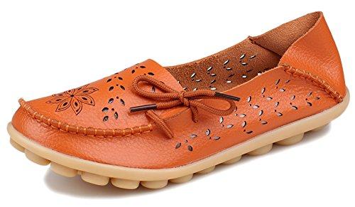 Orange Leather Footwear - Kunsto Women's Leather Casual Loafer Shoes US Size 7 Orange