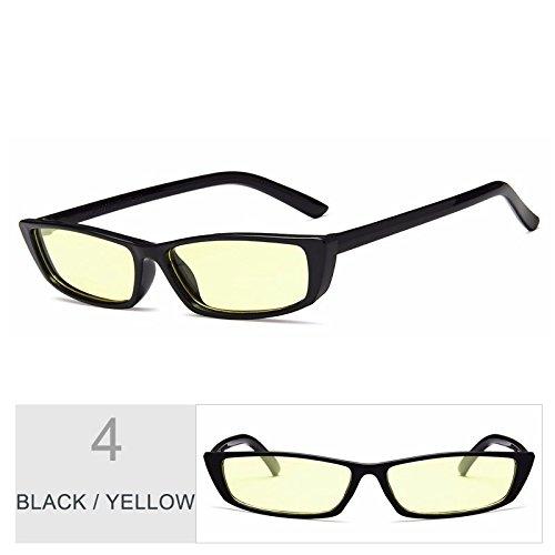 mujer rojo negra BLACK Gafas de gafas Sunglasses de gafas gris pequeña YELLOW de sol rectángulo Piazza sol Volver TL telón mujer qOB1wTSxxF
