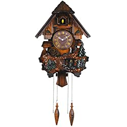 HENSE Retro European Style Creative Pastoral Clock With Solid Wood Pinecone Pendant Decorative Mute Silent Quartz Movement Hand Crafted Brown Wooden Cuckoo Wall Clock Hourly Chime HP26