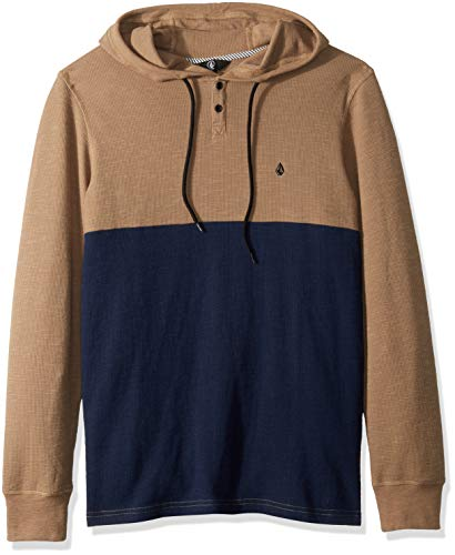 Volcom Men's Murphy Long Sleeve Hooded Thermal Shirt, Sand Brown, Medium