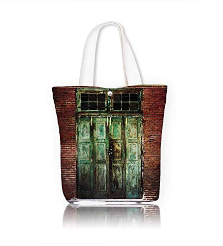 Canvas Beach Bags Rusty old green wooden Totes for Women Zippered Beach Shoulder Bag W11xH11xD3 (Rusty Wooden Knife)