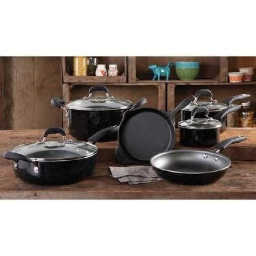 Pioneer Woman Non-stick Pre-seasoned Cookware Setvintage Speckle 10-piece (Black)