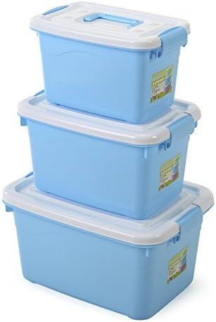 KWEIW Colorido de almacenamiento sellado la caja ordenando cajas ocultar caja de almacenamiento portátil de escritorio sistema de tres,Azul: Amazon.es: Hogar