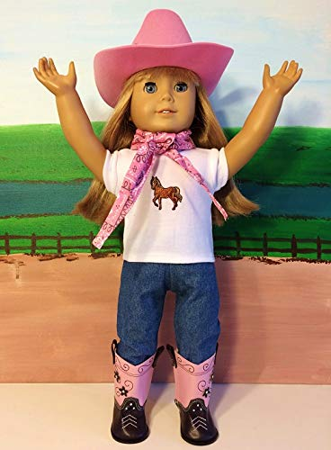 Clothes Boots Western (The Wishlist Store Western Cowboy Cowgirl Outfit Pink ~ 18 inch Doll Clothes fits American Girl Hat, Pink Boots, Jeans, Bandanna, Horse Top, Complete Set !)