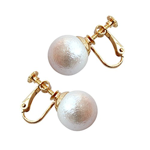 Screw Back Clip on Earrings Stud Simulated Pearl Gold Plated for Girls