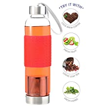 GROSCHE Marino 550ml/18.6oz Water and Tea Infuser Glass and Stainless Steel Travel Bottle with built-in Tea Infuser