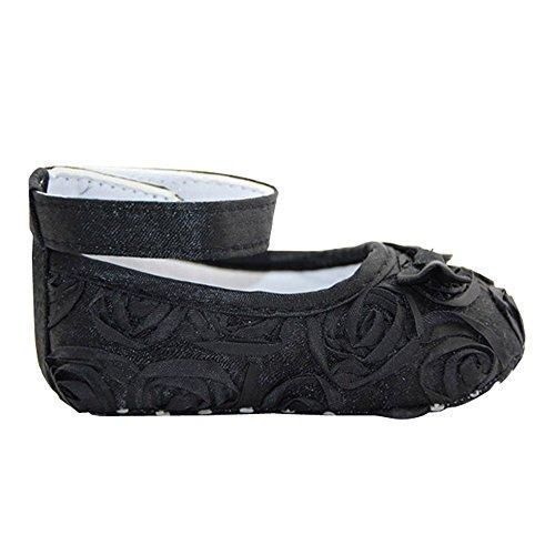 Niedlich Neugeborene Säugling Mädchen Baby Rosen Stil Weich Prinzessin Blumen Krippe Schuhe Schwarz 13cm