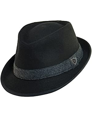 Men's Wool Herringbone Band Classic Fedora Hat