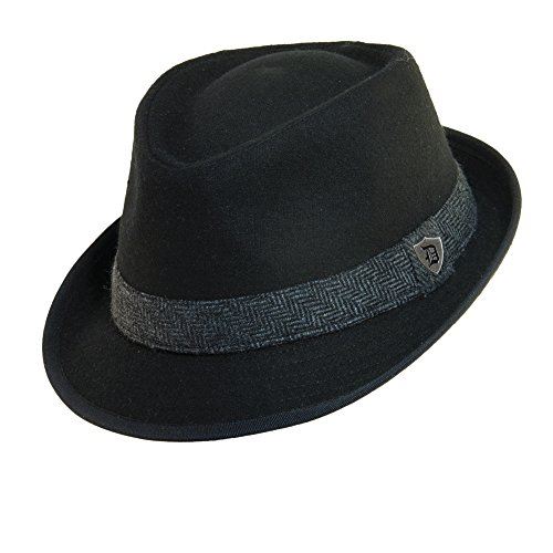 [Dorfman Pacific Mens Wool Blend Fedora Hat with Herringbone Band,X-Large / 23 1/2-24 Inches,Black] (Fedora Gangster Hat)
