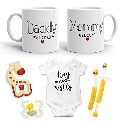 2020 Est Pregnancy Gift - New Mommy & Daddy 11 oz Mug Heart Set with