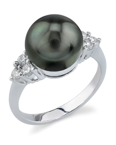 10mm Tahitian South Sea Cultured Pearl & Diamond Sea Breeze Ring in 14K Gold by The Pearl Source