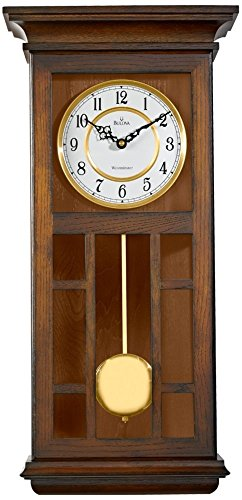 Bulova C4337 Mayfair Wall Clock-11.5W x 24H in, Brown