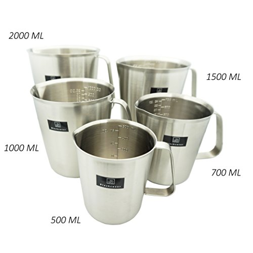 Blackcover Measuring Cup, Stainless Steel Beaker/Measuring Beaker Steaming Frothing Pitcher with Handle ()