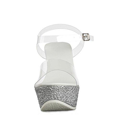 Travail Sandales Compensés Silver Pantoufles Salle Ouvert Lâches d'extérieur de pour Chaussures Compensés Bas Talons Hauts à épais Bout Chaussures Femmes Talons de de Sandales Banquet xrw1HU0rqS