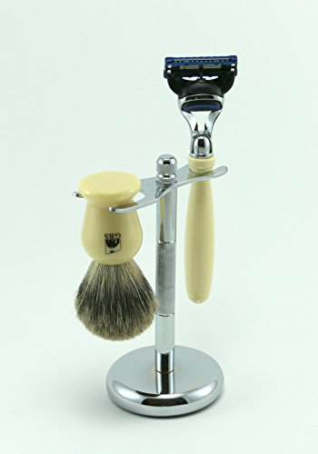 GBS 3pc Shaving Gift Set with Faux Ivory 5 Blade Razor, High Quality Pure Badger Brush with Chrome Brush and Razor Stand From GBS. Great idea for Holidays, Birthday, Fathers day, and more!