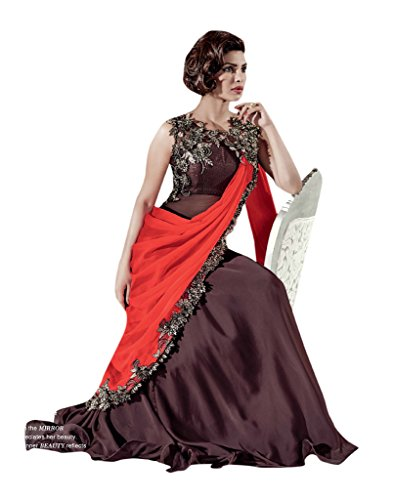 Shoppingover-Indian-Bollywood-Embroidered-Gown-Style-Saree-in-Brown-Color