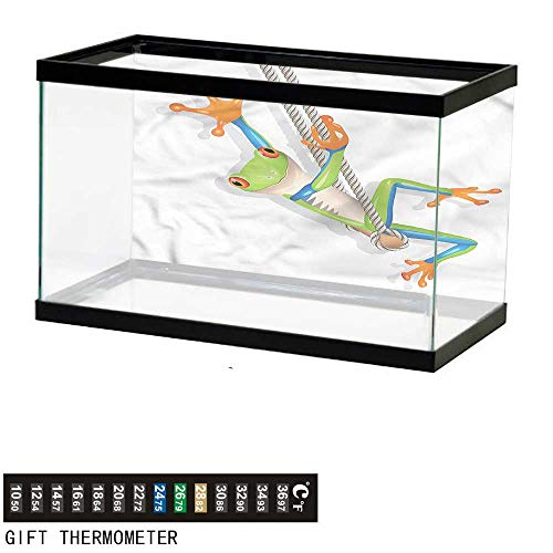 bybyhome Fish Tank Backdrop Animal,Funny Small Frog on Swing,Aquarium Background,72