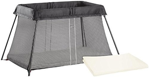 BabyBjörn Travel Crib Light: Easy Fold Portable Crib, Play Yard + Play Pen with Soft Mattress and Carrying Case - Black + Fitted Sheet Bundle Pack