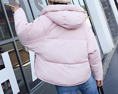 Cappuccio Donna Size Plus Trapuntato Moda Cappotti Caldo Piumino Con Loose Ampia Rosa Tasca qIYXnrIAx