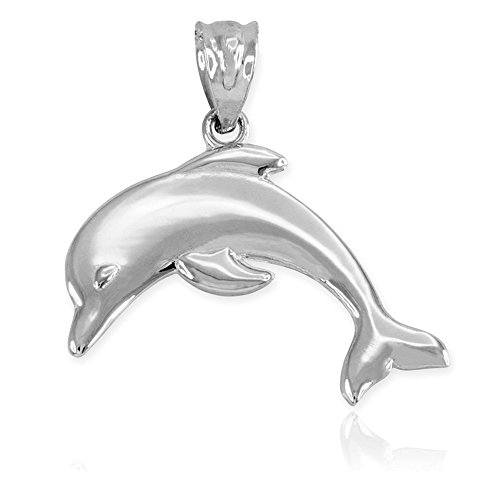 Sea Life Collection High Polish 925 Sterling Silver Jumping Dolphin Necklace Pendant
